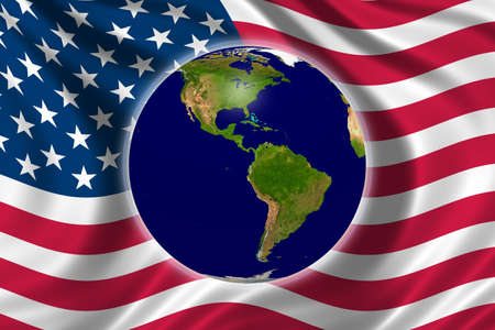 Protect Environment - the us flag and planet earth photo