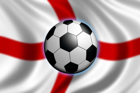 bandera inglaterra: F�tbol en Inglaterra - bandera de Inglaterra y de una bola del f�tbol Foto de archivo