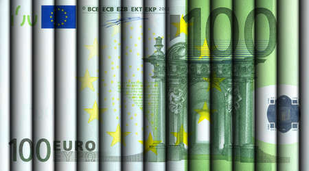wallstreet: Hundred Euro bill - hundred Euro bills rolled and aligned to display a one hundred Euro note.