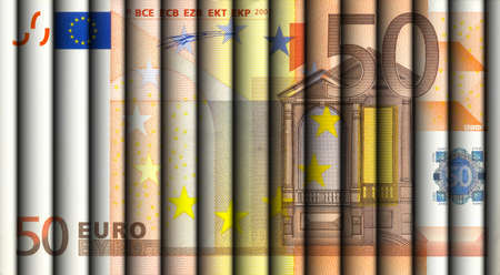 wallstreet: Fifty Euro bill - fifty Euro bills rolled and aligned to display a one fifty Euro note. Stock Photo