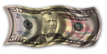 fifty dollar bill: Fifty Dollar Bill waving in the wind - clipping path included