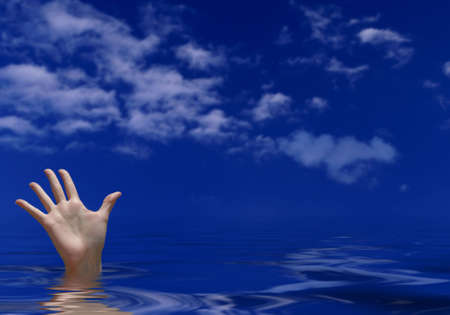 fatal: Drowning - female hand sticking out of water, trying to reach for help