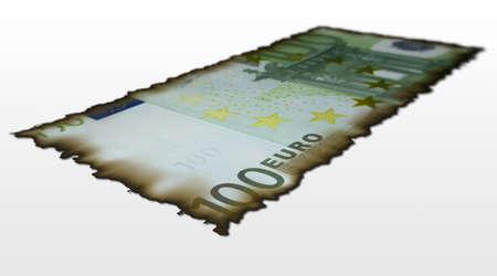 Burnt 100 euro bill photo
