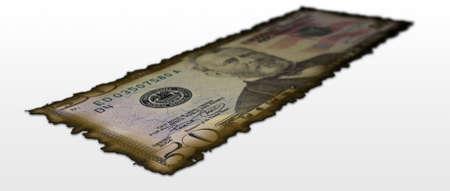 50 dollar bill: Burnt 50 Dollar bill - shallow depth of field