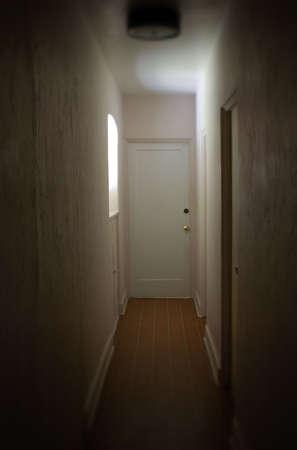 narrow: Dark Hallway - hallway in an old house illuminated by a window