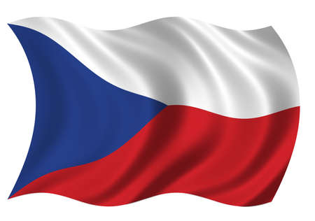 undefined: Flag of the Czech Republic waving in the wind - clipping path included Stock Photo