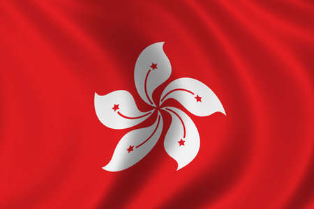 population growth: Flag of Hongkong - waving in the wind