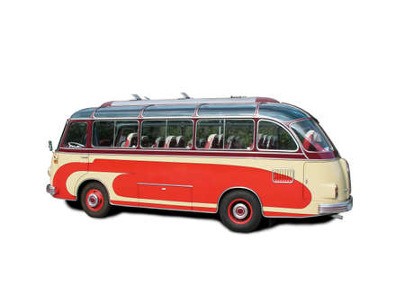 restoring: Old bus over white background Stock Photo