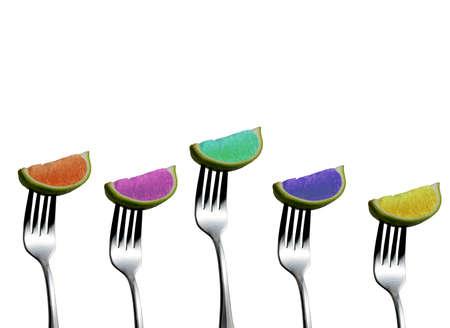 lemony: Colorful lemons on forks