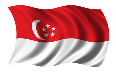 national identity: Flag of Singapore waving in the wind