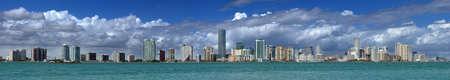 miami: Miami Skyline - extreme panorama view at the Miami skyline Stock Photo