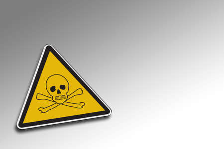 Chemical warning sign over gradient background - including clipping path for the warning sign photo
