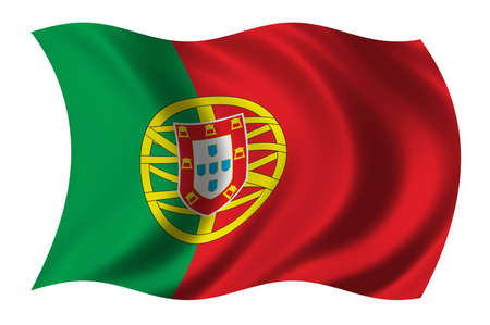 undefined: Flag of Portugal waving in the wind - clipping path included