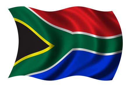 undefined: Flag of South Africa waving in the wind - clipping path included