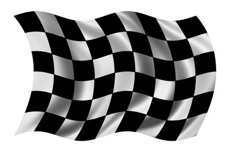 undefined: Race flag waving in the wind - with cloth texture - clipping path included Stock Photo