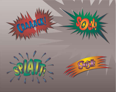 Superhero bashing - comic bubbles of super hero fights Vector