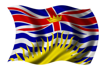 undefined: British Columbia Flag waving in the wind - clipping path included