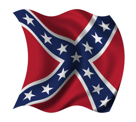 confederacy: US Confederacy flag waving in the wind - clipping path included Stock Photo