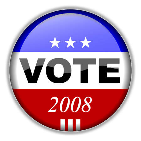 voters: Vote Button 2008 - CLIPPING PATH INCLUDED for easy isolation without drop shadow