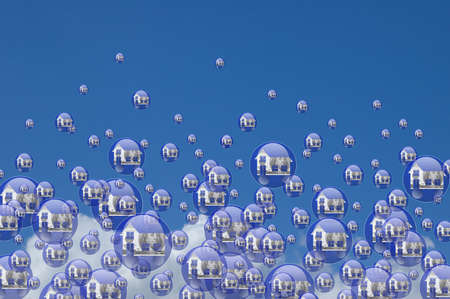 depreciation: Real estate bubbles floating in the sky Stock Photo