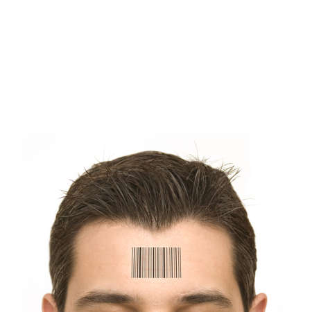 tagging: Human Standards - bar code on a mans forehead