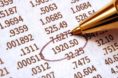 Stock Chart - important stock quote marked with pen Stock Photo
