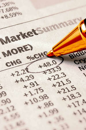 dow: Stock Chart - important stock quote marked with pen Stock Photo