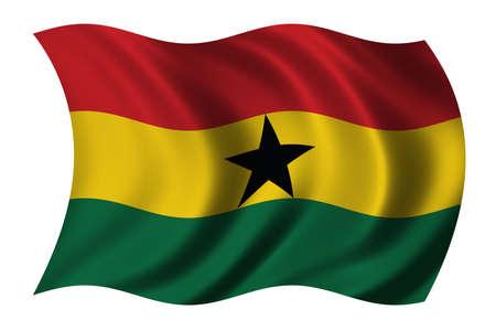 ghanese: Flag of Ghana waving in the wind