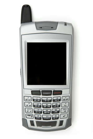 pager: Cell phone with organizer over white background Stock Photo