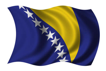 serb: Flag of Bosnia Herzegovina waving in the wind