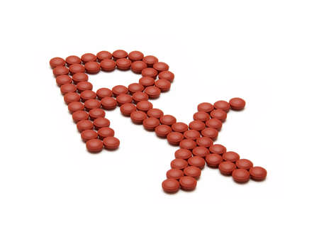 rx: RX pharmacy symbol made out of red pills over white Stock Photo