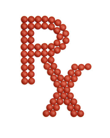 health symbols metaphors: RX pharmacy symbol made out of red pills over white Stock Photo