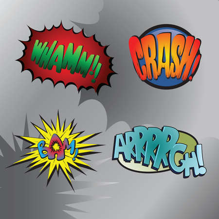 Superhero bashing #3 - Comic fighting bubbles of super heroes Vector