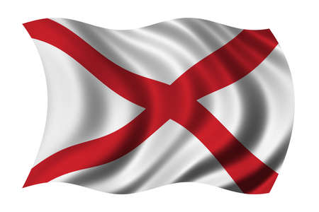 alabama: Flag of Alabama waving in the wind