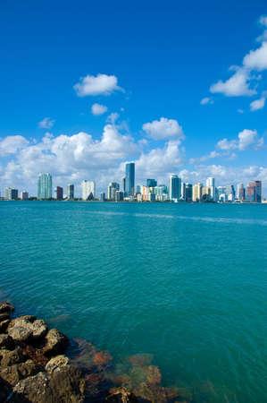 Miami Skyline - view from Key Biscayne Stock Photo