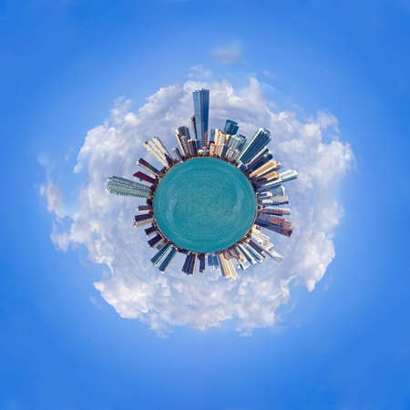 Miami is the world - skyline of Miami shaped as a sphere photo