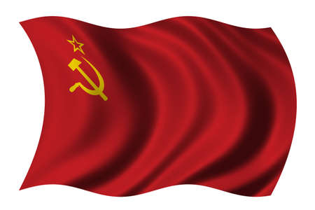 Flag of the Soviet Union waving in the wind photo