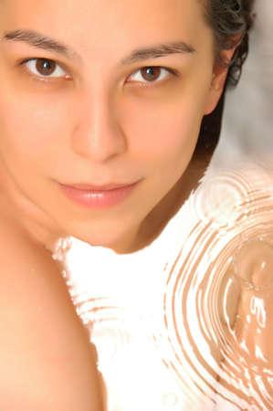 Portrait of a beautiful woman taking a bath - soft filter Stock Photo - 2382429