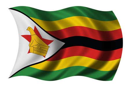 zimbabwe: Bandera de Zimbabue ondeando en el viento  Foto de archivo