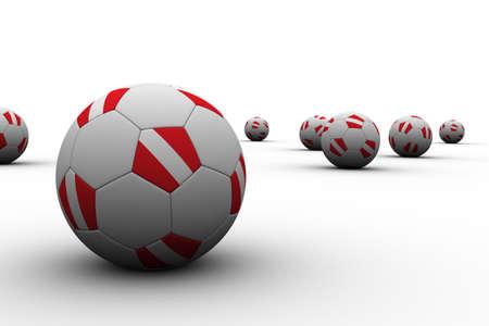 austrian: Austrian soccer balls - 3D render of austrian soccer balls laying around Stock Photo