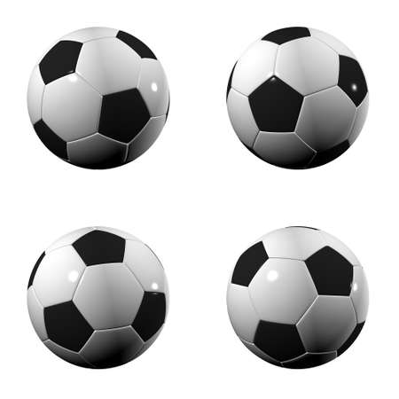 world  hexagon: Randomly rotated isolated soccer balls over white
