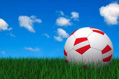 austrian: Austrian soccer ball laying on the grass