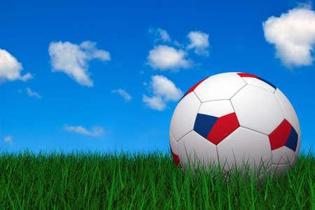 czech: Czech soccer ball laying on the grass