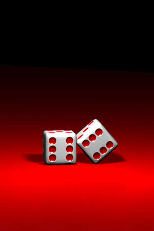 exploit: Two dice over a red background