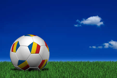 romanian: Romanian soccer ball laying on the grass