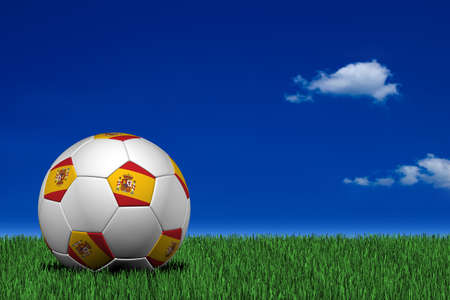 Spanish soccer ball laying on the grass photo