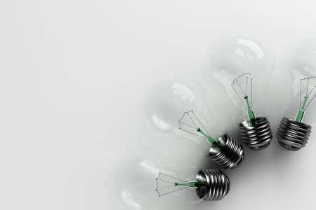 Broken light bulbs - non-functional bulbs over white background Stock Photo - 2956999