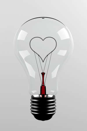 adore: Love light bulb - light bulb with a filament in the shape of a heart Stock Photo