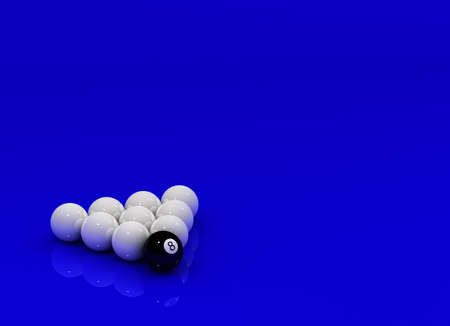 poolball: Eight Ball in front of nine white Billiard balls over reflective surface