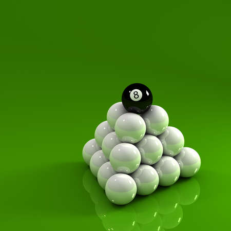 Eight ball on top of a pyramid of white pool balls Stock Photo